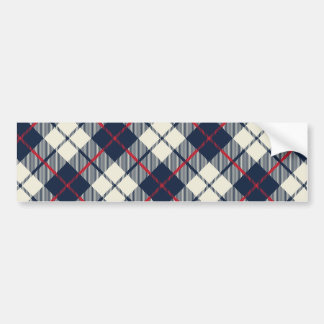 Navy Blue Plaid Pattern Bumper Sticker