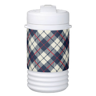 Navy Blue Plaid Pattern Cooler