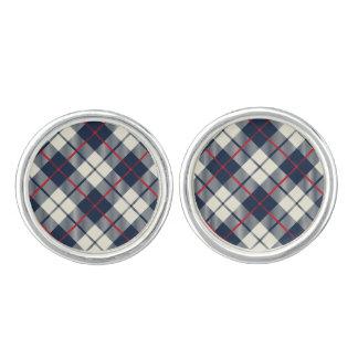 Navy Blue Plaid Pattern Cuff Links