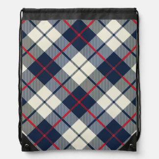 Navy Blue Plaid Pattern Drawstring Bag