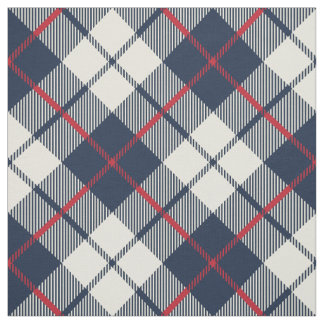 Navy Blue Plaid Pattern Fabric