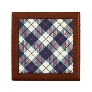 Navy Blue Plaid Pattern Gift Box