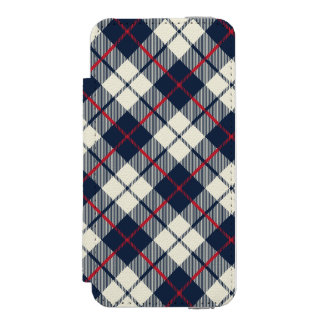 Navy Blue Plaid Pattern Incipio Watson™ iPhone 5 Wallet Case