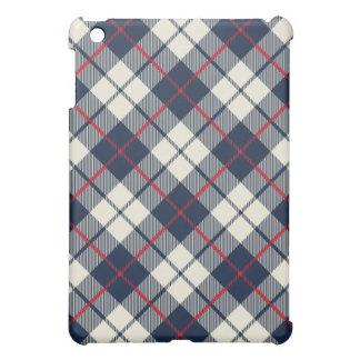 Navy Blue Plaid Pattern iPad Mini Case