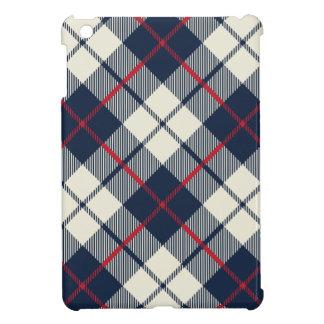 Navy Blue Plaid Pattern iPad Mini Cases