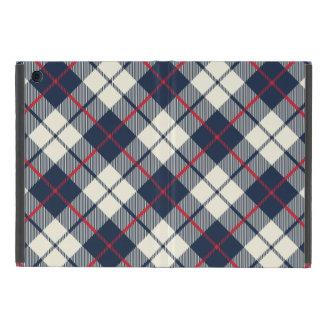 Navy Blue Plaid Pattern iPad Mini Cover