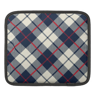 Navy Blue Plaid Pattern iPad Sleeve
