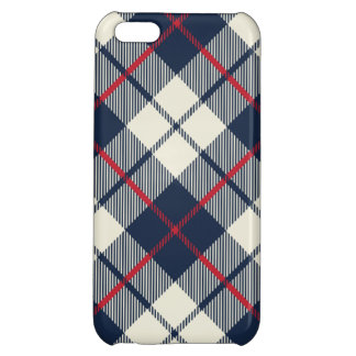 Navy Blue Plaid Pattern iPhone 5C Cases