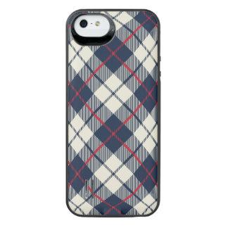 Navy Blue Plaid Pattern iPhone SE/5/5s Battery Case