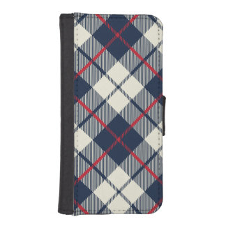 Navy Blue Plaid Pattern iPhone SE/5/5s Wallet Case