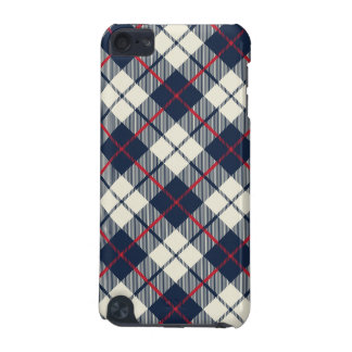 Navy Blue Plaid Pattern iPod Touch 5G Cases