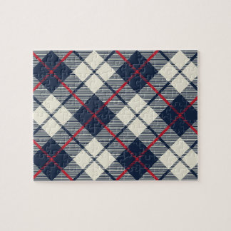 Navy Blue Plaid Pattern Jigsaw Puzzle