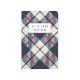 Navy Blue Plaid Pattern Journal
