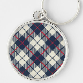 Navy Blue Plaid Pattern Keychain