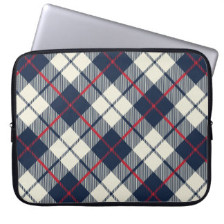 Navy Blue Plaid Pattern Laptop Sleeve