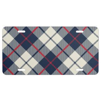 Navy Blue Plaid Pattern License Plate