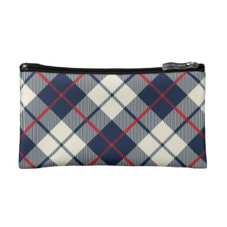 Navy Blue Plaid Pattern Makeup Bags