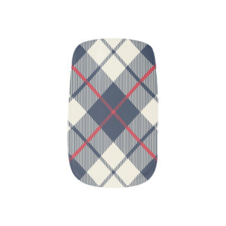 Navy Blue Plaid Pattern Minx Nail Art