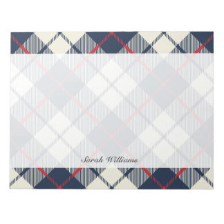Navy Blue Plaid Pattern Notepad