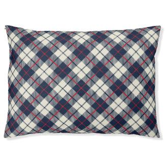 Navy Blue Plaid Pattern Pet Bed