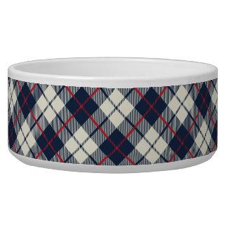 Navy Blue Plaid Pattern Pet Bowl