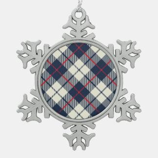 Navy Blue Plaid Pattern Pewter Snowflake Ornament