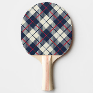 Navy Blue Plaid Pattern Ping Pong Paddle