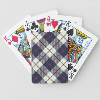 Navy Blue Plaid Pattern Poker Deck