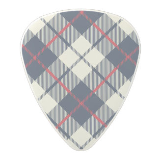 Navy Blue Plaid Pattern Polycarbonate Guitar Pick