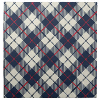 Navy Blue Plaid Pattern Printed Napkin
