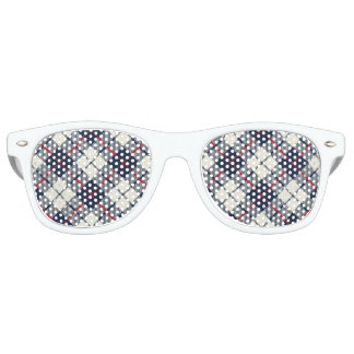 Navy Blue Plaid Pattern Retro Sunglasses