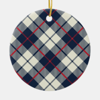 Navy Blue Plaid Pattern Round Ceramic Ornament
