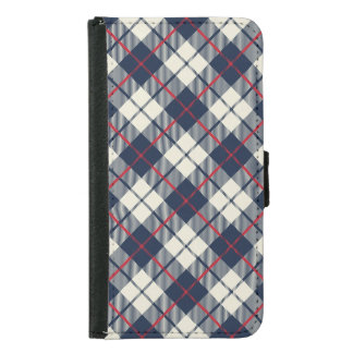 Navy Blue Plaid Pattern Samsung Galaxy S5 Wallet Case