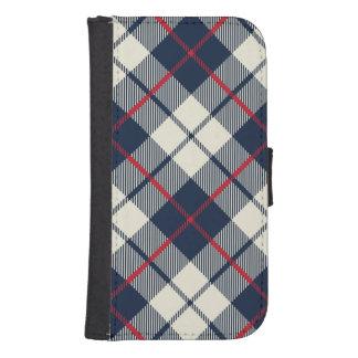 Navy Blue Plaid Pattern Samsung S4 Wallet Case