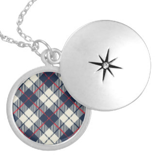 Navy Blue Plaid Pattern Silver Plated Necklace