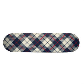 Navy Blue Plaid Pattern Skate Board