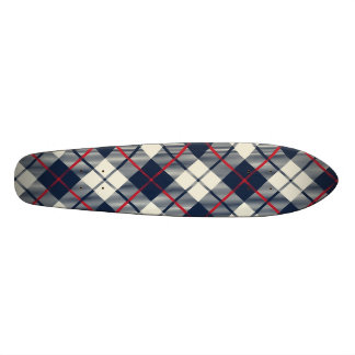 Navy Blue Plaid Pattern Skate Decks