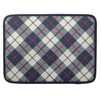 Navy Blue Plaid Pattern Sleeve For MacBooks