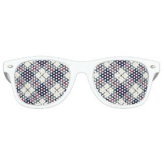 Navy Blue Plaid Pattern Sunglasses