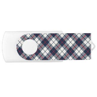 Navy Blue Plaid Pattern Swivel USB 3.0 Flash Drive
