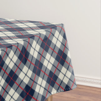 Navy Blue Plaid Pattern Tablecloth