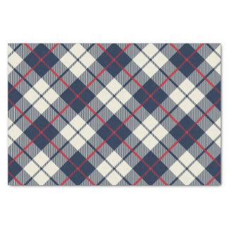 Navy Blue Plaid Pattern Tissue Paper