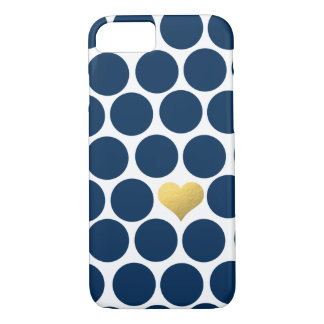 Navy Blue Polka Dot Gold Foil Heart iPhone iPhone 8/7 Case