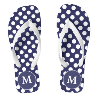 Navy Blue Polka-Dot Monogrammed Flip-flops Flip Flops
