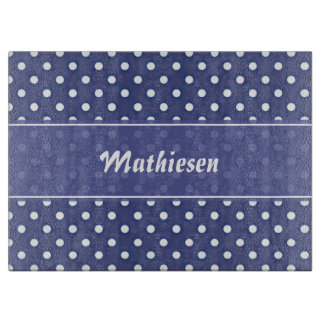 Navy Blue Polka Dot Personalized Cutting Board