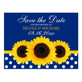 Navy Blue Polka Dot Sunflower Save the Date Postcard