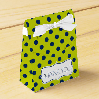Navy Blue Polka Dots on Lime Green Personalized Favor Box
