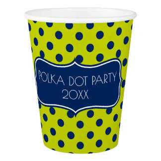 Navy Blue Polka Dots on Lime Green Personalized Paper Cup