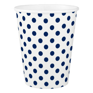 Navy Blue Polka Dots on White Paper Cup