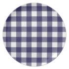 Navy Blue Preppy Buffalo Check Plaid Plate